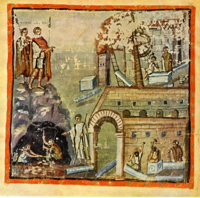 An illustration showing Æneas, hero of the eponymous Æneid, from a fifth-century manuscript of it now in the Vatican, Biblioteca Apostolica, Cod. Vat. lat. 3225