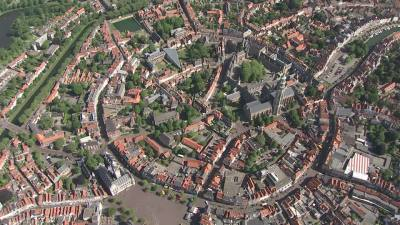 Aerial view of Middelburg in Walcheren