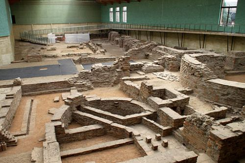 Display of excavations of the Roman palace at Sirmium, in modern-day Serbia.