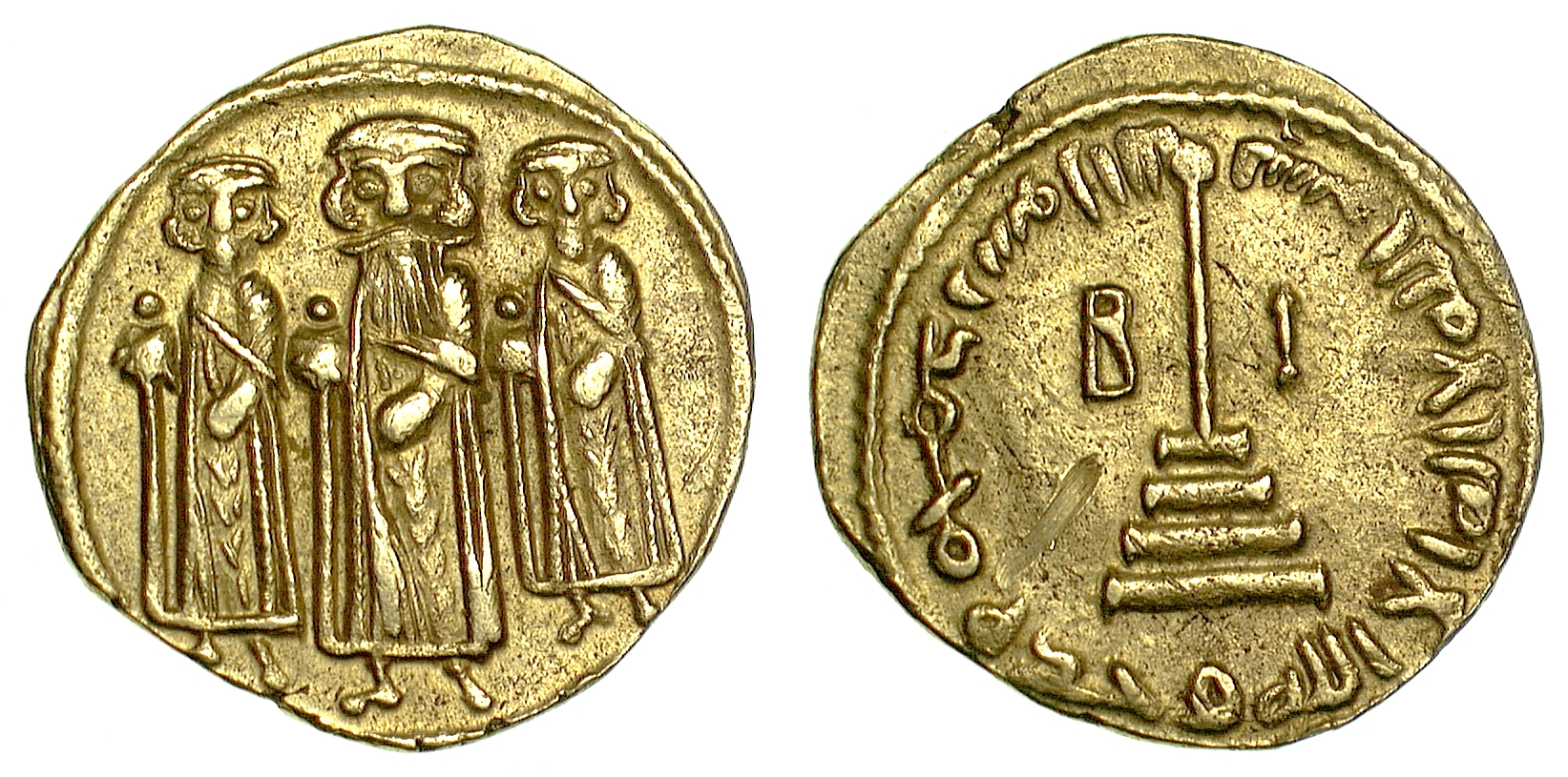 Coins & Paper Money Online Discount Byzantine (300-1400 Ad) Smart Gold Byzantine Solidus Of Heraclius Showing Three Emperors