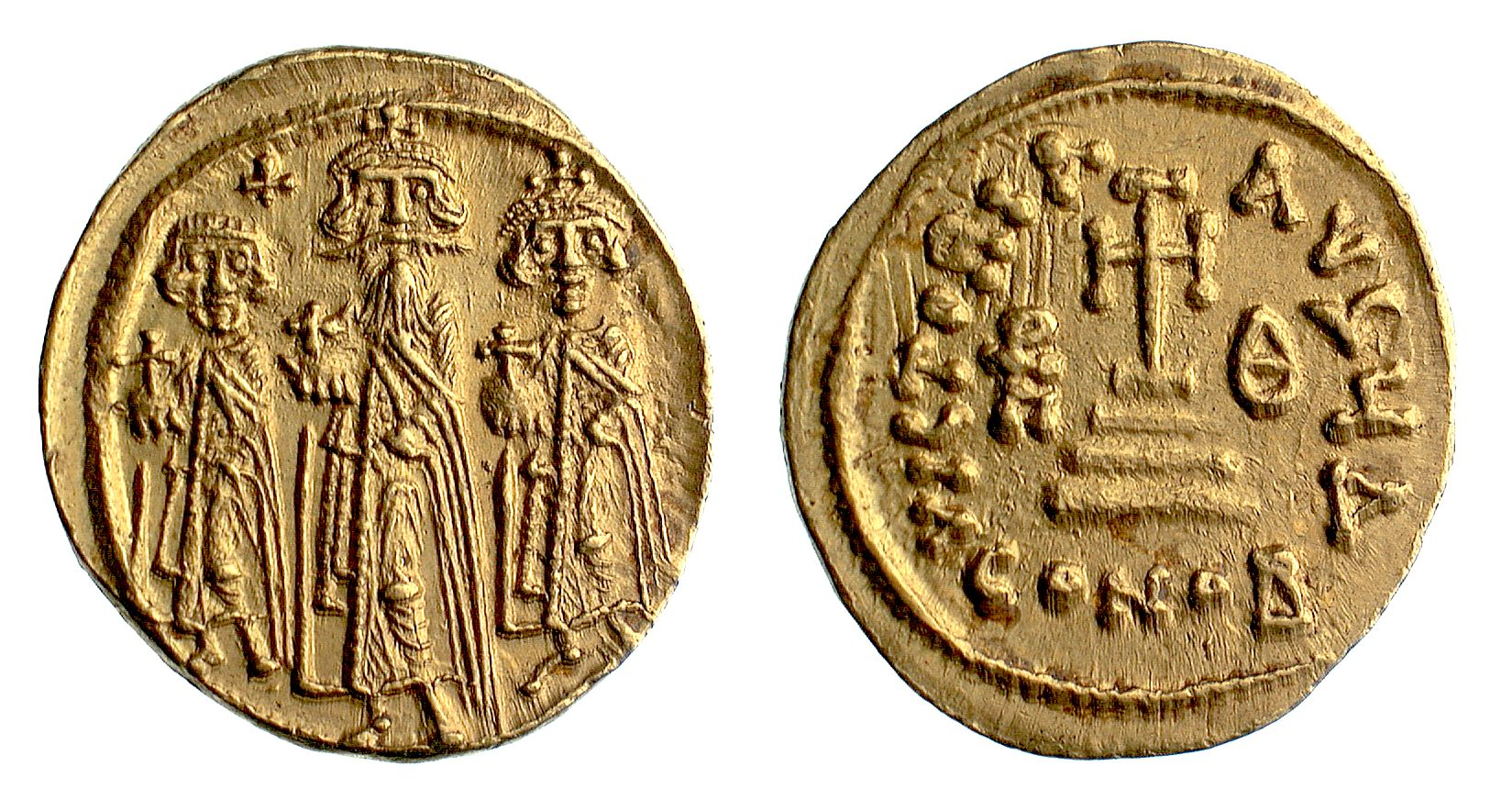 Coins: Ancient Online Discount Smart Gold Byzantine Solidus Of Heraclius Showing Three Emperors