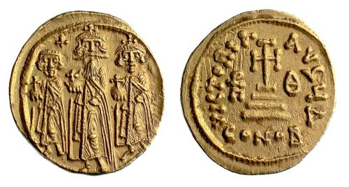Gold solidus of Emperor Heraclius and his two sons, struck in Constantinople between 638 and 641, Barber Institute of Fine Arts B2912