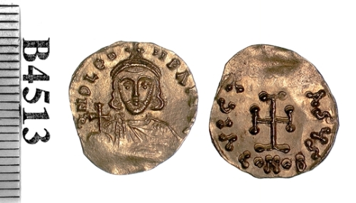Gold tremissis of Emperor Leo III struck at Constantinople, probably between 717 and 720, Barber Institute of Fine Arts B4513