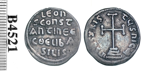 Silver miliaresion of Emperors Leo III and his son Constantine V, struck at Constantinople between 720 and 741, Barber Institute of Fine Arts B4521