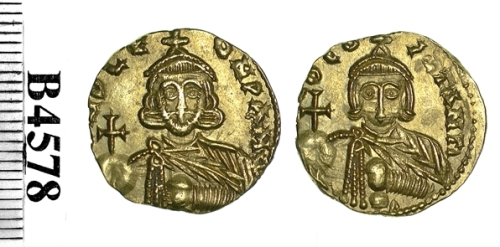 Gold solidus of Emperors Leo III and Constantine V struck at Syracuse between 720 and 741, Barber Institute of Fine Arts B4578