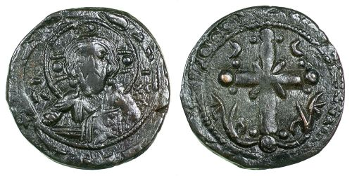 Bronze anonymous follis struck at an unknown mint between 1071 and 1092, Barber Institute of Fine Arts B5278