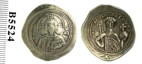 Electrum nomisma histamenon of Emperor Alexios I Komnenos, struck at Constantinople in 1081-1092, Barber Institute of Fine Arts B5224