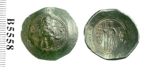 A billon trachy of Emperor Alexios I Komnenos, struck at Constantinople in 1092-1118, Barber Institute of Fine Arts B5558