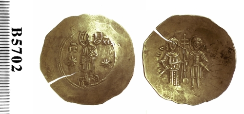 Electrum aspron trachy of Emperor Manuel I Komnenos, struck at Constantinople in 1143-1180, Barber Institute of Fine Arts B5702