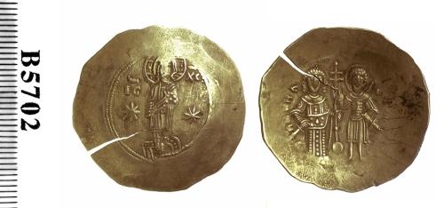 Electrum aspron trachy of Emperor Manuel I Komnenos, struck at Constantinople in 1143-1180, Barber Institute of Fine Arts B5702