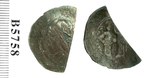 Billon aspron trachy of Emperor Manuel I Komnenos, struck at Constantinople in 1143-1180, Barber Institute of Fine Arts B5758