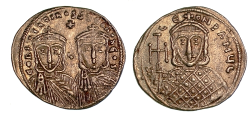 Gold solidus of Emperors Constantine V and Leo IV, struck at Constantinople between 751 and 775, Barber Institute of Fine Arts B4545
