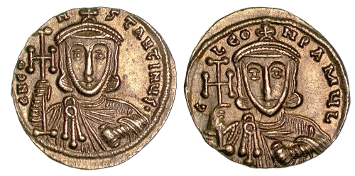 Gold solidus of Emperor Constantine V, struck at Constantinople between 741 and 751, Barber Institute of Fine Arts B4549