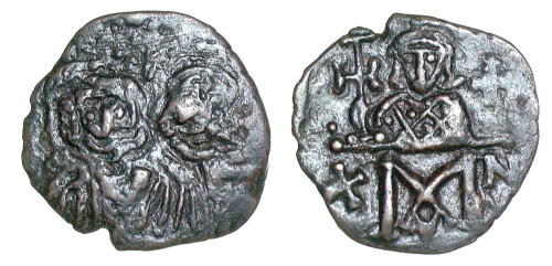 Bronze forty-nummi coin of Emperors Constantine V and Leo V, struck at Constantinople between 751 and 775, Barber Institute of Fine Arts B4554