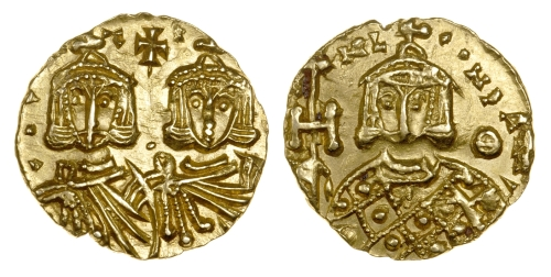 Gold solidus of Emperors Constantine V and Leo IV, struck at Syracuse between 751 and 775, Barber Institute of Fine Arts B4559