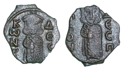 Bronze follis of Emperor Constantine V struck at Syracuse between 741 and 751, Barber Institute of Fine Arts B4561
