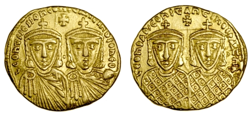 Gold solidus of Emperors Leo IV and Constantine VI, struck between 780 and 797, Barber Institute of Fine Arts B4584