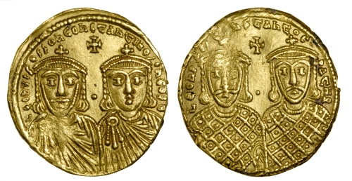 Gold solidus of Emperor Constantine VI and Empress Eirini, struck in Constantinople 780-797, Barber Institute of Fine Arts B4585
