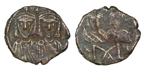 Bronze 40-nummi coin of Emperor Constantine VI and Empress Eirini, struck in Constantinople between 780 and 797, Barber Institute of Fine Arts B4590