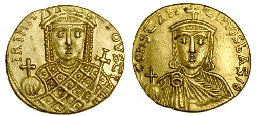 Gold solidus of Emperor Constantine VI and Empress Eirini, or possibly the other way around, struck in Constantinople between 780 and 797, Barber Institute of Fine Arts B4597