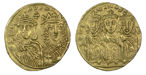 Gold solidus of Emperor Constantine VI and Empress Eirini, struck at Constantinople between 780 and 797, Barber Institute of Fine Arts B4598