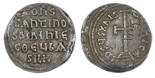 Silver miliaresion of Emperor Constantine VI and Empress Eirini, struck between 780 and 797 on an Arabic dirham, Barber Institute of Fine Arts B4601