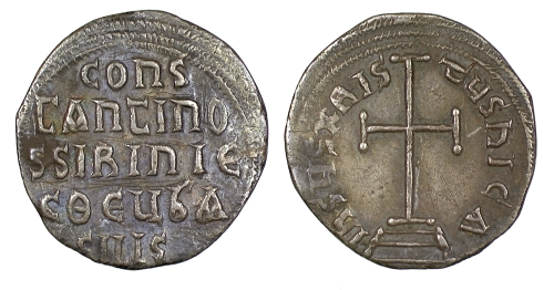 Silver miliaresion of Emperor Constantine VI and Empress Eirini, struck at Constantinople between 780 and 797, Barber Institute of Fine Arts B4603