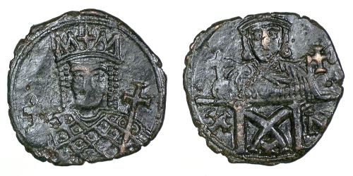 Bronze 40-nummi coin of Empress Eirini and Emperor Constantine VI, struck in Constantinople between 780 to 797, Barber Institute of Fine Arts B4608