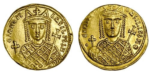 Gold solidus of Empress Eirini, struck in Constantinople between 797 and 802, Barber Institute of Fine Arts B4609