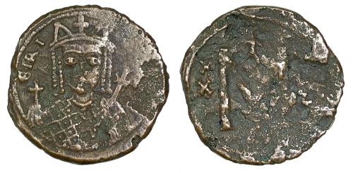 Bronze 40-nummi coin of Empress Eirini, struck at Constantinople between 797 and 802, Barber Institute of Fine Arts B4611