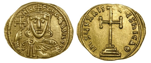 Gold solidus of Emperor Nikephoros I, struck in Constantinople between 802 and 803, Barber Institute of Fine Arts B4612