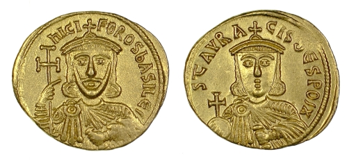 Gold solidus of Emperors Nikephoros I and Stavrakios, struck at Constantinople between 803 and 811 and found in Paros in 1956, Barber Institute of Fine Arts B4613