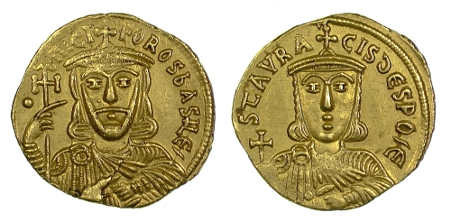 Gold solidus of Emperors Nikephoros I and Stavrakios, struck in Constantinople between 803 and 811, Barber Institute of Fine Arts B4615