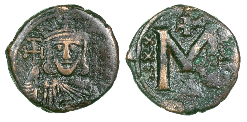 Bronze 40-nummi coin of Emperor Nikephoros I, struck in Constantinople between 802 and 803, Barber Institute of Fine Arts B4616
