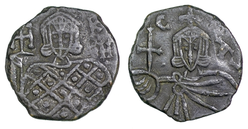 Bronze follis of Emperors Nikephoros I and Stavrakios, struck in Syracuse between 803 and 811, Barber Institute of Fine Arts B4619