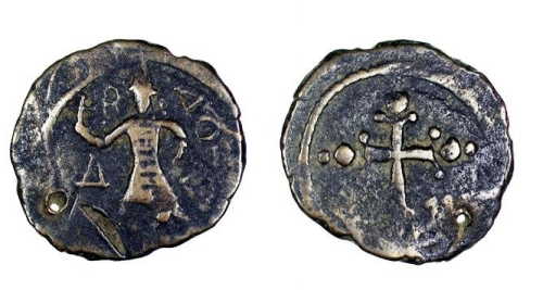 Bronze follis of Count Baldwin II of Edessa, struck in Edessa between 1108 and 1118, Barber Institute of Fine Arts CR005