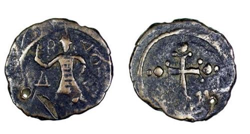 Bronze follis of Count Baldwin II of Edessa, struck in Edessa between 1108 and 1118, Barber Institute of Fine Arts CR005