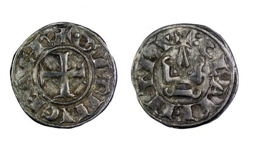 Billon denier tournois of either Geoffrey II or  William de Villehardouin, Princes of Achaia, struck in Corinth between 1246 and 1278, Barber Institute of Fine Arts CR017