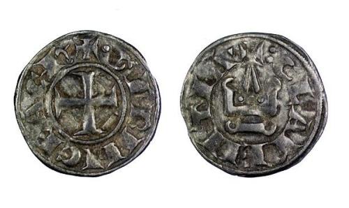 Billon denier tournois of either Geoffrey II or  William de Villehardouin, Princes of Achaia, struck in Corinth between 1246 and 1278, Barber Institute of Fine Arts CR017