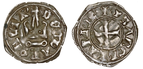 Billon denier tournois of Isabelle de Villehardouin, Princess of Achaia, struck in Glarentza between 1297 and 1301, Barber Institute of Fine Arts CR025