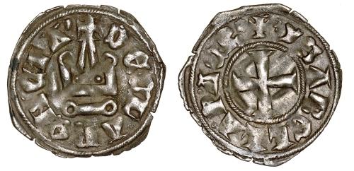 Billon denier tournois of Isabelle de Villehardouin, Princess of Achaia, struck in Glarentza between 1297 and 1301, Barber Institute of Fine Arts CR025