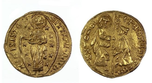 Gold ducat of Pierre d'Aubusson, Grand Master of the Knights of the Hospital of St John, struck in Rhodes between 1476 and 1500, Barber Institute of Fine Arts CR037