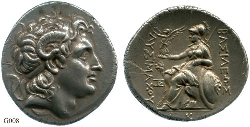 Silver tetradrachm of King Lysimachos, struck in Lysimacheia between 328 BC and 281 BC, Barber Institute of Fine Arts G0008.