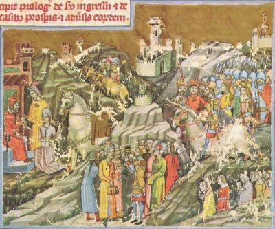 The entry of the Magyars into the Carpathian basin, from the Chronicum Pictum, 1360