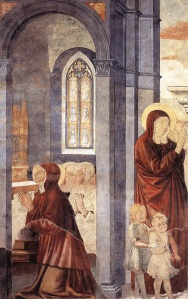 Detail of fresco cycle by Benozzo Gozoli in Sant Agostino di San Gimignano, showing St Monica