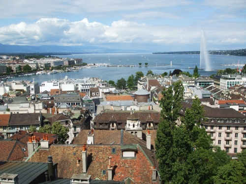 The Lac de Genève and bits of the city, viewed from low down the tower of Geneva Cathedral