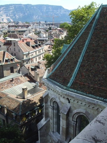 Apse of the cathedral and bits of Geneva seen from the tower of the former