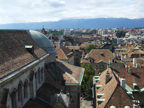 Nave and dome of Geneva Cathedral seen from one of its towers