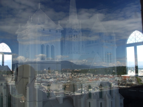 Maquette of Geneva Cathedral in one of its towers, photographed through glass