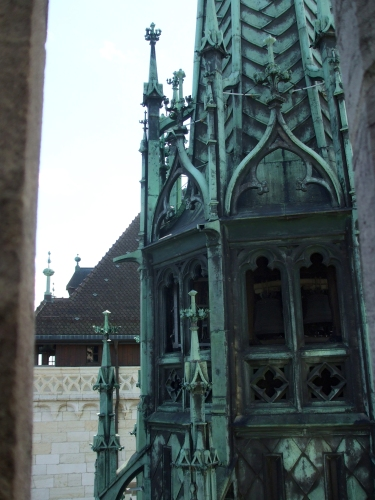 Junction of the central tower of Geneva Cathedral and the roof of the cathedral's westwork